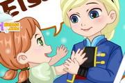 Anna and Elsa Build Snowman