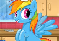 Rainbow Dash Cooking M & M Cake